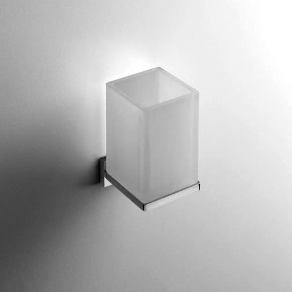 designer glashalter look eckig quadro massiv satiniertes glas wandh ngend chrom. Black Bedroom Furniture Sets. Home Design Ideas