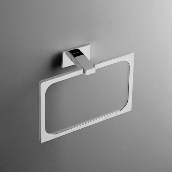 designer handtuchring look eckig quadro handtuchhalter massiv chrom. Black Bedroom Furniture Sets. Home Design Ideas