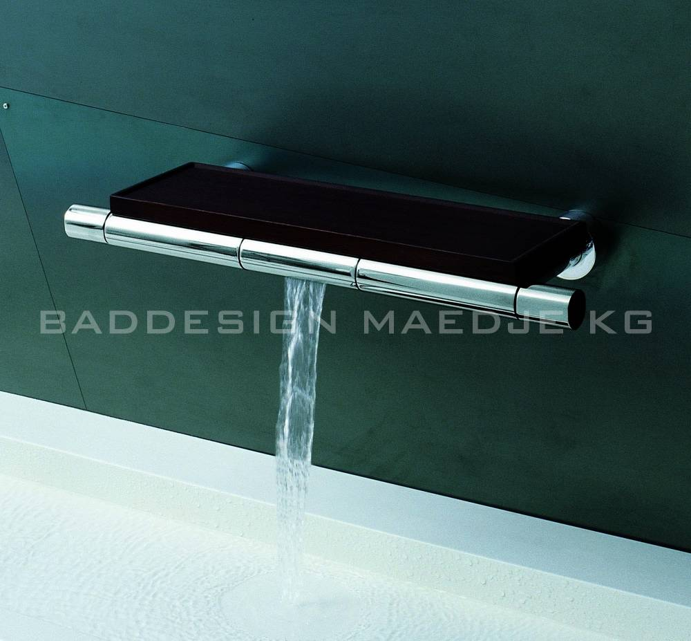 Designer Wand Wasserfall 2 Griff Armatur Console Mit Wenge Holz Ablage Armatur Chrom