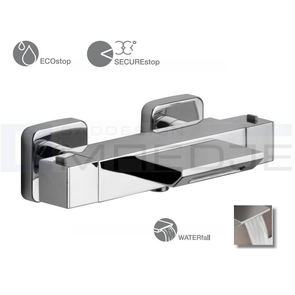 designer wannen thermostat quadro schwall wasserfall mit ecostop und hei wassersperre chrom. Black Bedroom Furniture Sets. Home Design Ideas