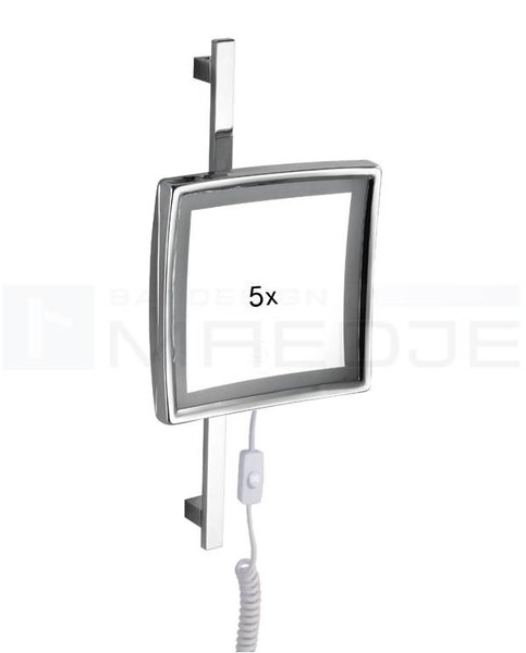beleuchteter led kosmetikspiegel quadro verstellbare stange 5 fach vergr erung 22cm verchr. Black Bedroom Furniture Sets. Home Design Ideas