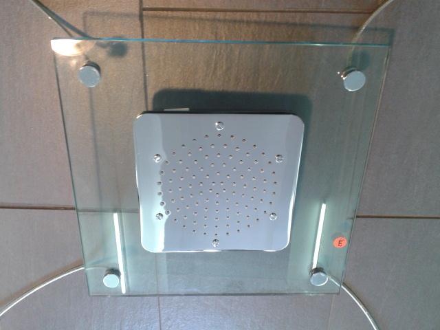 Regendusche Unterputz : Regendusche Glas/ Messing verchromt, 40x40cm, inkl. Deckenbefestigung