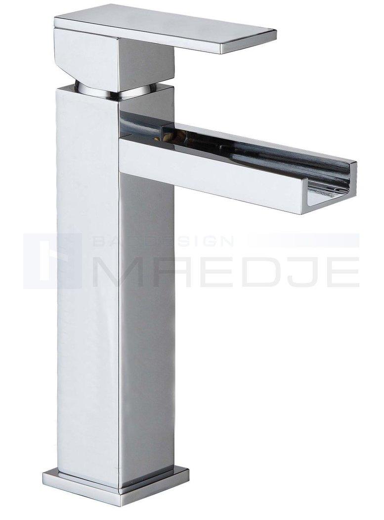 Designer wasserfall hoch waschtisch armatur quadro 08 klicker ablauf chrom - Wasserfall armatur ...