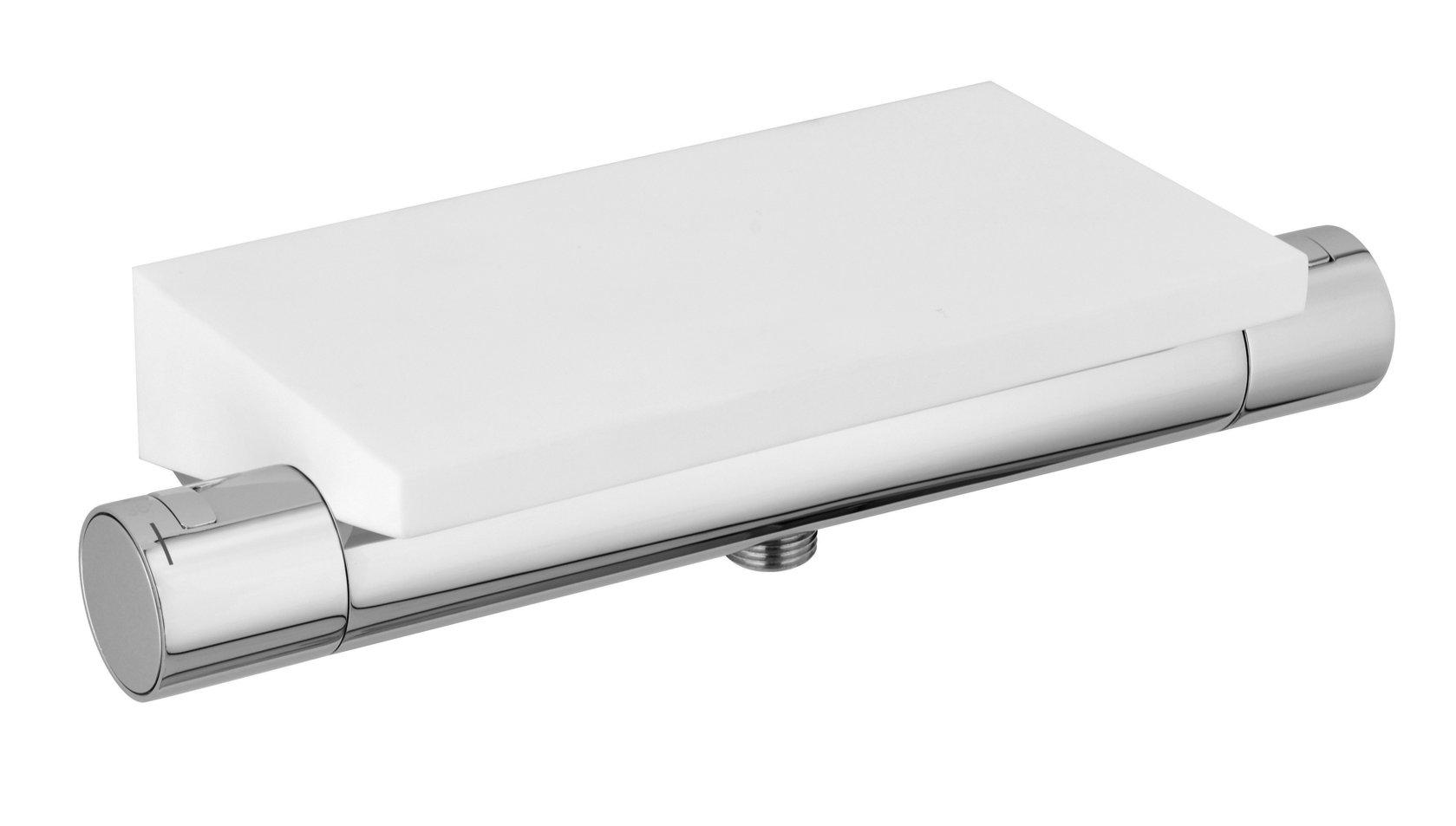 design brause thermostat seta f r dusche chrom mit matt wei er solid stone duschablage. Black Bedroom Furniture Sets. Home Design Ideas