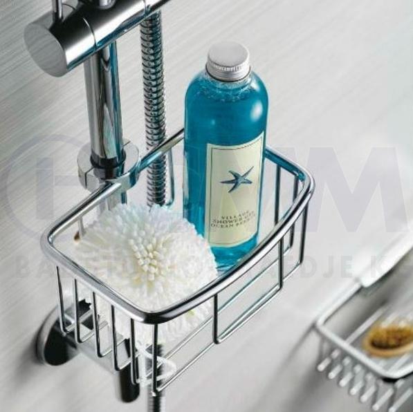 design seifenkorb duschkorb f r brausestangen 17 22mm aus verchromten messing 14x16x8cm. Black Bedroom Furniture Sets. Home Design Ideas
