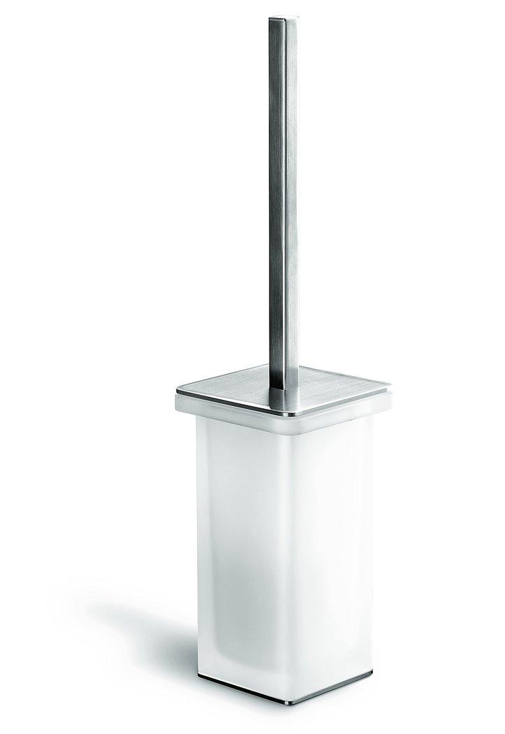 design edelstahl stand b rstengarnitur over griff und bodenplatte matt geb rstet glas satiniert. Black Bedroom Furniture Sets. Home Design Ideas