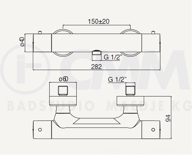 "Aufputz Armatur Dusche Ma?e : Design Brause Thermostat Armatur ""COOL"" f?r Dusche, 1/2"