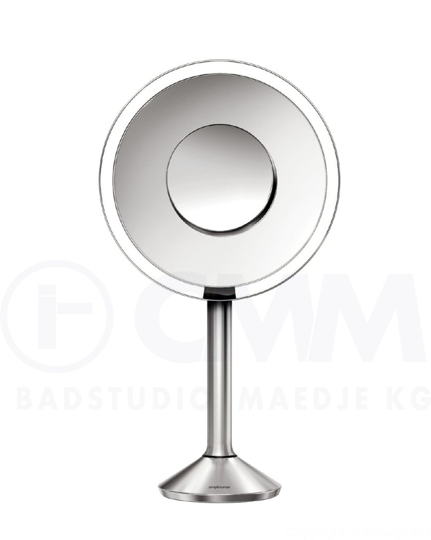 simplehuman st3007 pro stand edelstahl sensor akku led kosmetikspiegel 5 fach 10 fach app steu. Black Bedroom Furniture Sets. Home Design Ideas