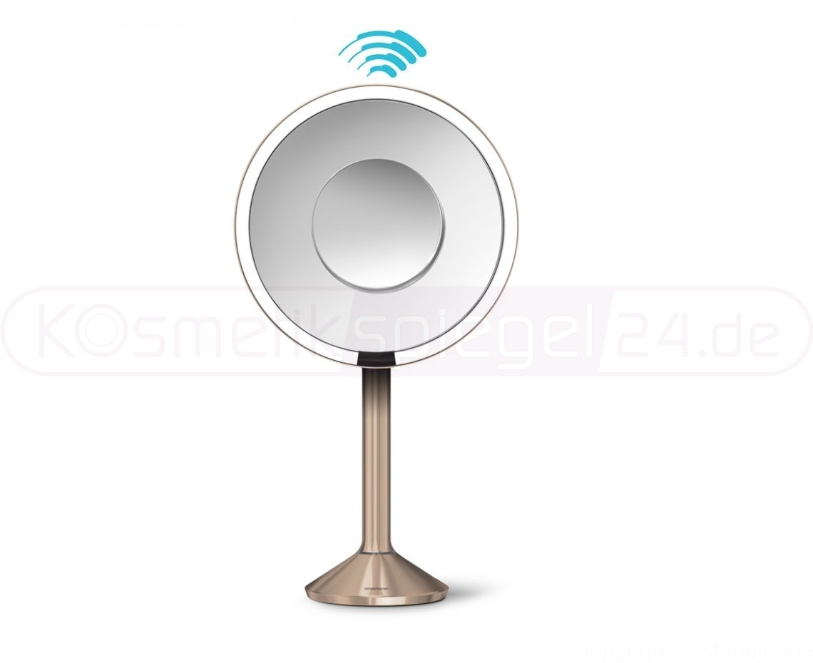 simplehuman st3011 pro stand sensor akku led kosmetikspiegel 5 fach 10 fach app steu rosegold. Black Bedroom Furniture Sets. Home Design Ideas