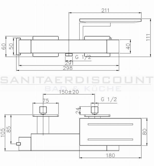"""Aufputz Armatur Dusche Ma?e : Designer Brause Thermostat Armatur """"GLASS"""" mit Echtglas – Ablage"""