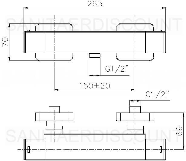 "Aufputz Armatur Dusche Ma?e : Designer Duschset ""QUADRO"" Brause Thermostat + Brauseset ""QUADRO 08"