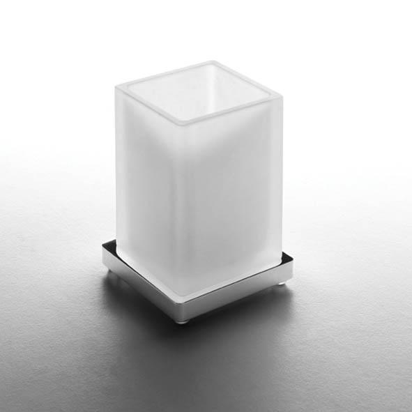 designer stand glashalter look eckig quadro massiv satiniertes glas chrom. Black Bedroom Furniture Sets. Home Design Ideas