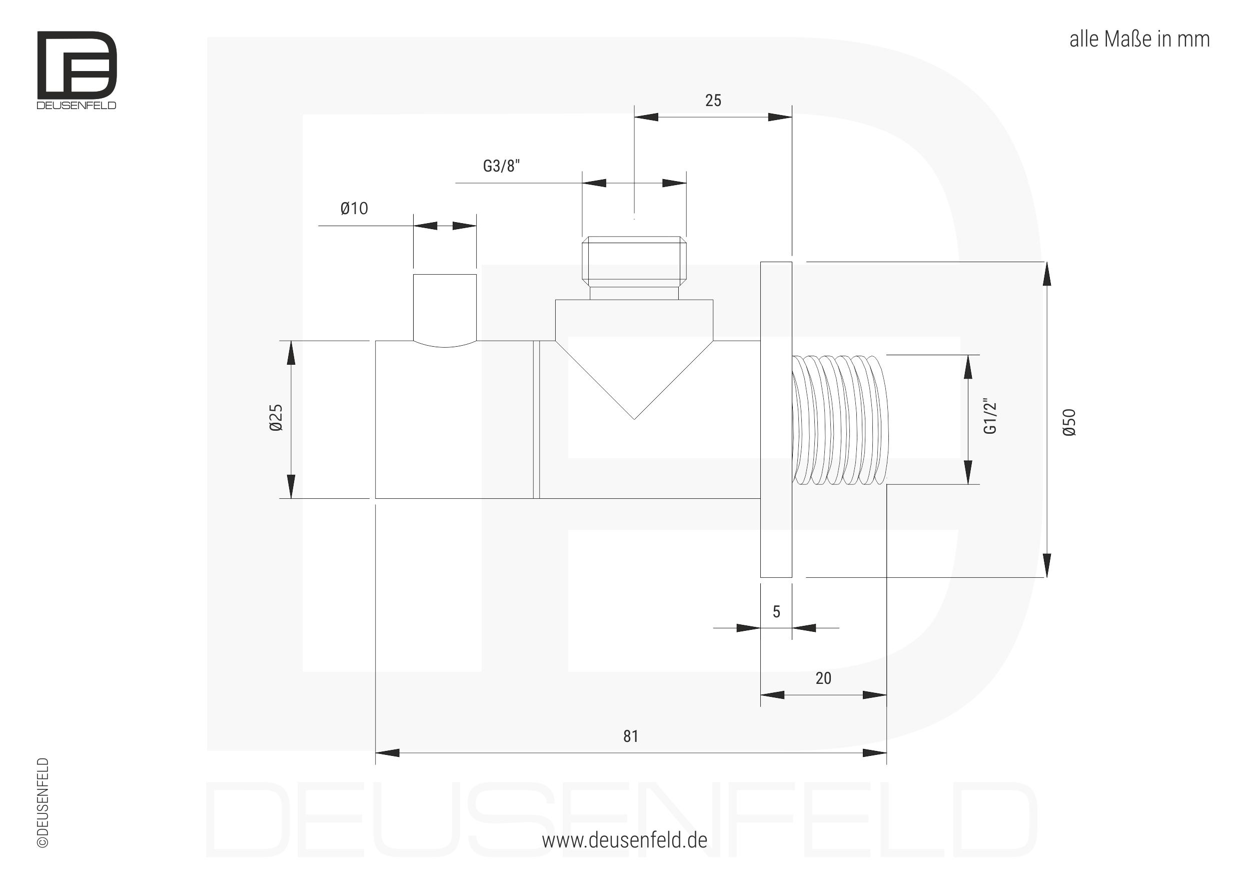 """DEUSENFELD design Edelstahl Eckventil Set """"M8"""" massiv matt"""