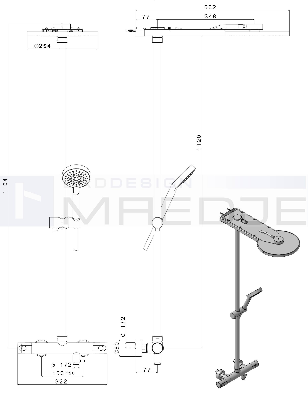 trio ap duschanlage alpi glam thermostat 25cm. Black Bedroom Furniture Sets. Home Design Ideas