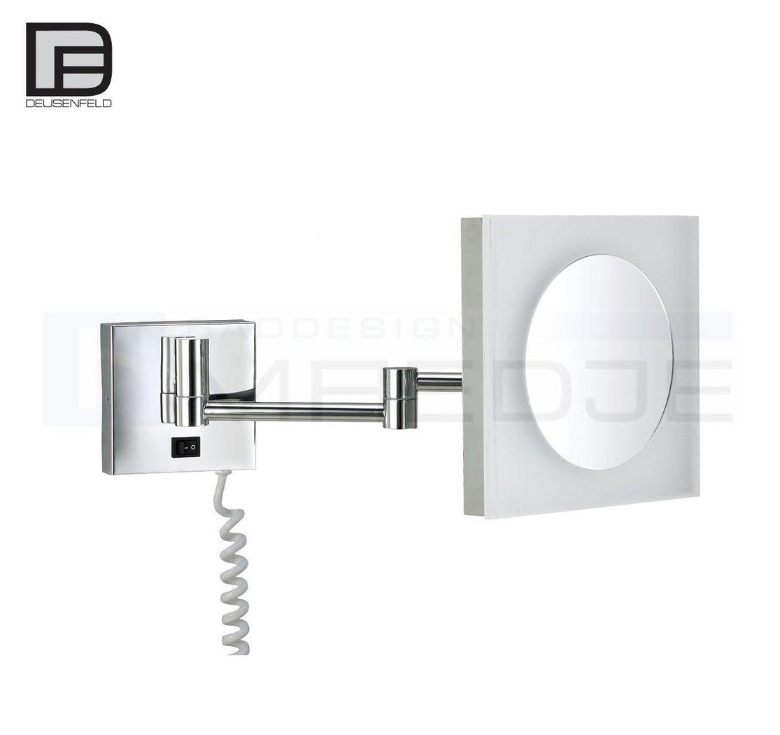 deusenfeld led kosmetikspiegel quadro 5 fach vergr erung 20x20cm pmma leuchtfeld tageslicht. Black Bedroom Furniture Sets. Home Design Ideas
