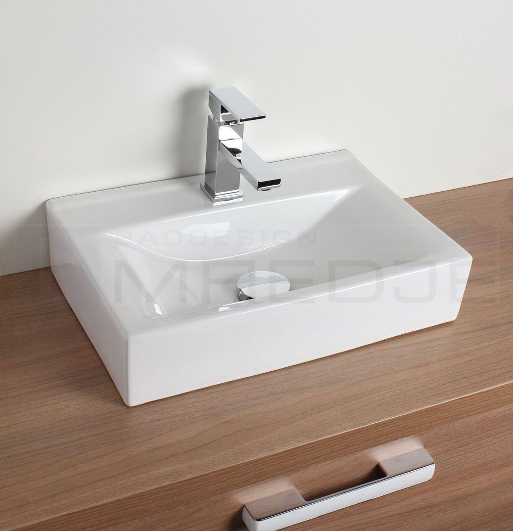 design waschtisch aufsatzbecken quadro wei 45 5 x 30 5cm mit nano beschichtung. Black Bedroom Furniture Sets. Home Design Ideas