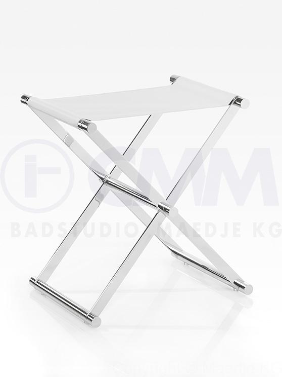 Design Badhocker, verchromtes schweres Gestell, Sitzfläche aus ... | {Badhocker design 65}