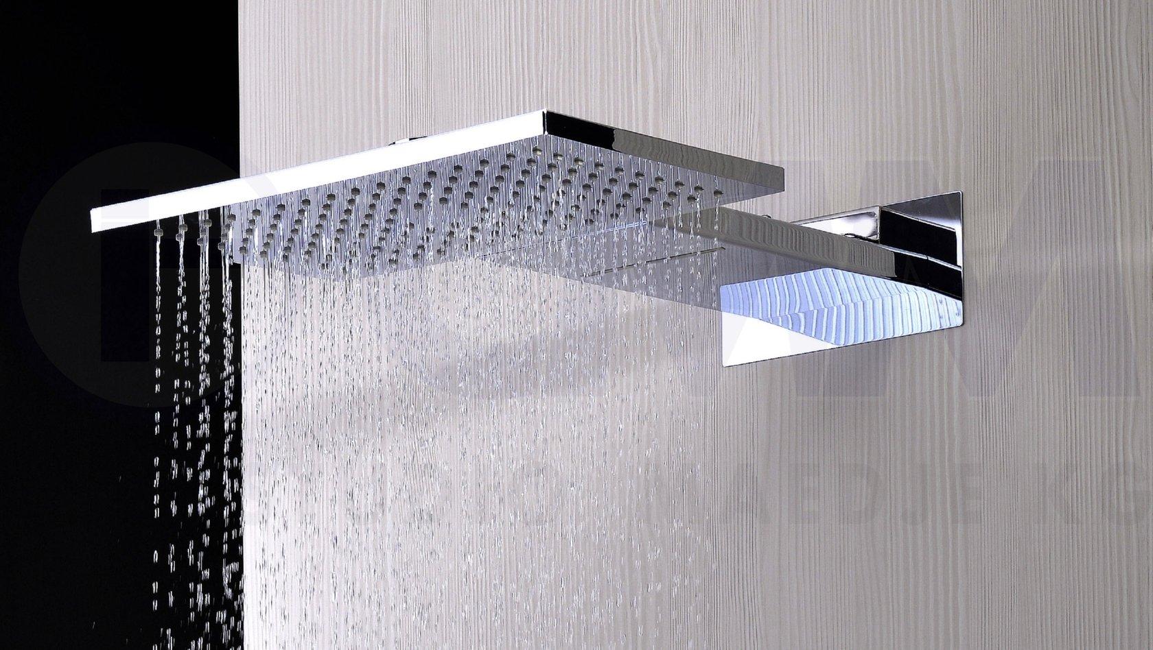 design regendusche regenbrause quadro eckig mit wasserfall 2 in 1 edelstahl verchromt 55x36cm - Wasserfall Regendusche