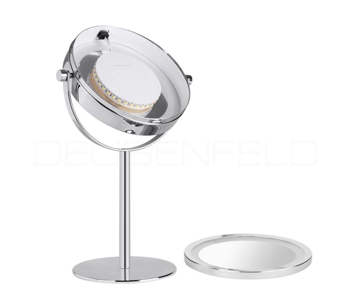 Deusenfeld sl10cb batterie led doppel stand kosmetikspiegel 10 fach normalspiegel 17 5cm hell - Kosmetikspiegel led batterie ...